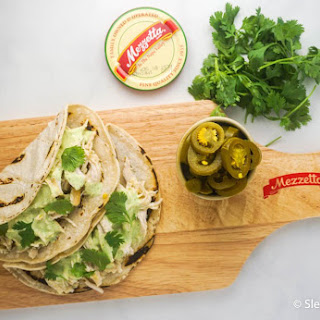 Slow Cooker Jalapeno Chicken Tacos with Creamy Cilantro Sauce