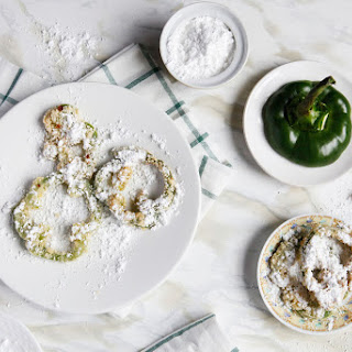 Fried Green Pepper Rings With Powdered Sugar