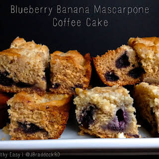 Blueberry Banana Mascarpone Coffee Cake.