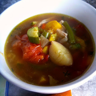 Farmers Market Bounty Summer Vegetable Soup with Chicken.