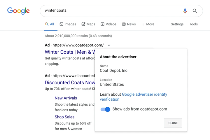"Image of ""Why this ad"" UI showing identity information"