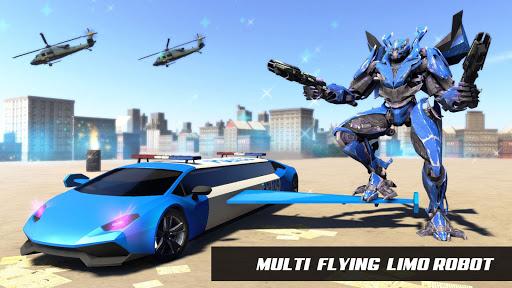 Flying Police Limo Car Robot: flying car games screenshot 20