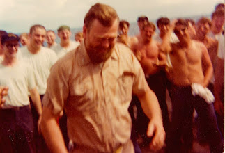 Photo: 1976 Goodnatured Shellback EM Chief Graffing during Pollywog Day