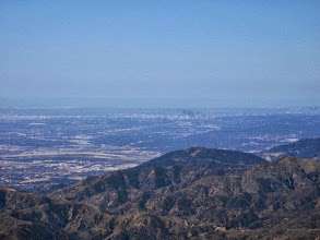 Photo: Zoomed-in view west from Sunset Peak toward downtown L.A. Santa Fe Dam is on the left, Glendora Peak is in the middle and pointed Glendora Mt. (3322') is one the far right.
