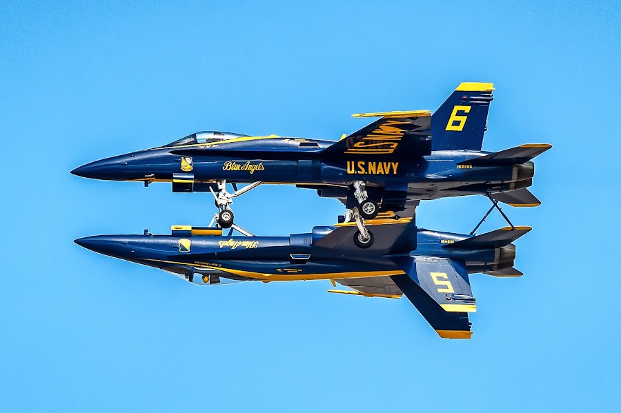 Mirror Pass by Brent Clark - Transportation Airplanes ( aviation, airplane, transportation, jet, airshow, blue angels )