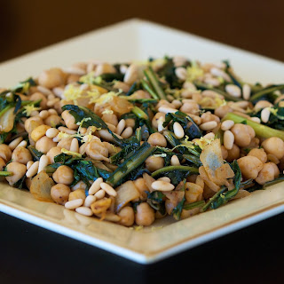Sauteed Dandelions and Chickpeas.