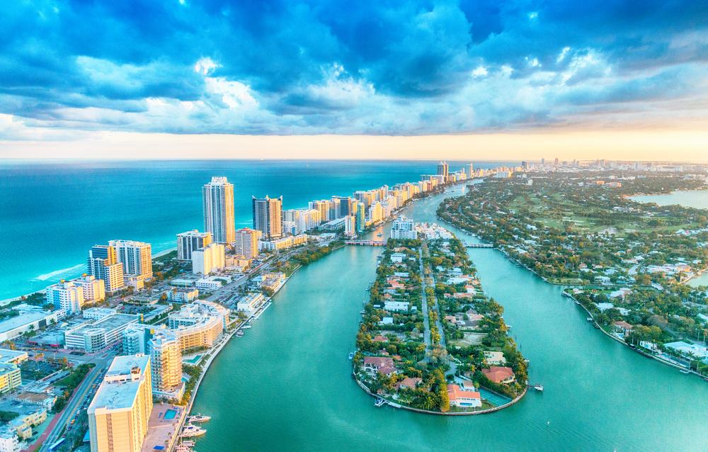 Beautiful birds-view from Miami beach