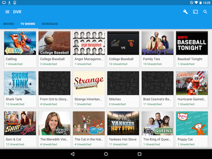 Browse recorded content in the Google Fiber TV app on Android.