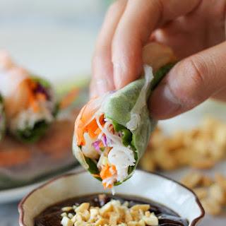Shrimp Spring Rolls with Hoisin Peanut Dip.