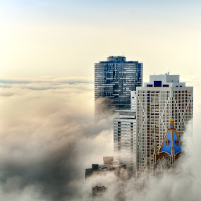Head in the Clouds by John Harrison - Buildings & Architecture Architectural Detail ( clouds, fog, pwcdetails, chicago, nikon, jnhphoto )