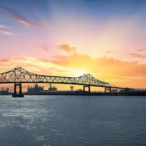 Mississippi River Bridge, Baton Rouge, La by Jan Davis - Transportation Roads ( landscape, bridges, roads,  )