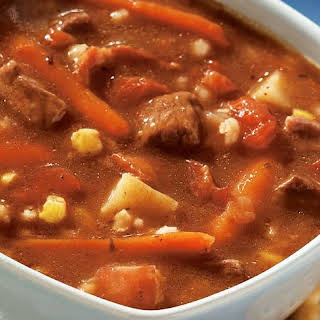 Slow-Cooker Beef, Bacon and Barley Soup.