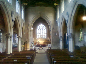 Photo: The Church aisle - one of the the memories a bride would take from a wedding ceremony - Aisle, Altar, Hymn ... When the Pagans and British Tribes were being converted, and there's little evidence to say it worked, stained glass was used in these mighty buildings to soften the other worldly, soaring architecture, and make the interior similar to a leafy glade that the forest dwellers would have felt comfortable with. Only during the Medieval plague times were the churches whitewashed (limed) inside, and if it was too watered down, a booming voice might have been heard - Repaint, and Thin No More..
