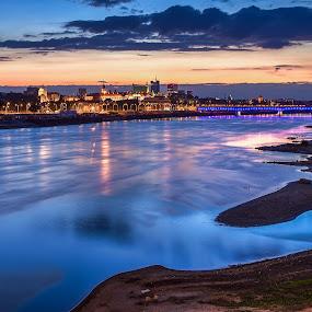 Blue Hour in Warsaw by Wojciech Toman - Landscapes Sunsets & Sunrises ( reflection, color, sunset, blue hour, landscape, warsaw, river, poland )