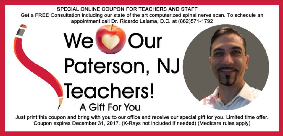 Helping teachers of Paterson, NJ with quality and effective Chiropractic care