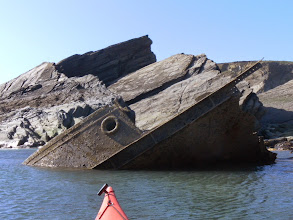 Photo: Remains of one of the Tugs