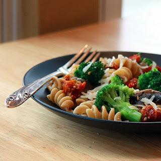 Mushroom and Broccoli with Sun-dried Tomato Pasta - Vegetarian.