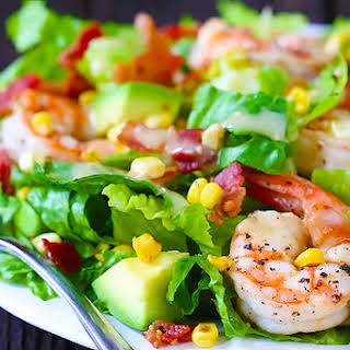 Shrimp, Avocado & Roasted Corn Salad.