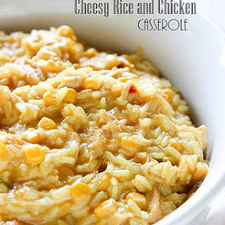 Slow Cooker Cheesy Rice and Chicken Casserole.