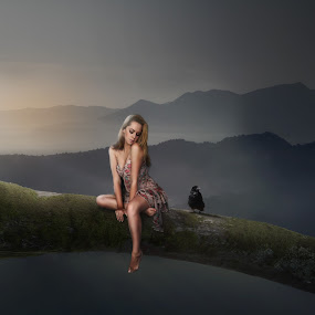 Jessica by Frank Quax - Digital Art People ( models, bird, tree, photoshop, manipulation, creative, photography, landscape, editing )