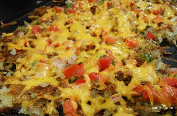 Cheesy Pico De Gallo Hash Browns