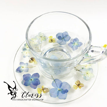 押花水晶茶杯碟