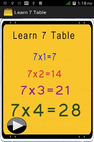 7乗算表をご覧ください