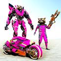 Rampage Raccoon Bike Robot War : Mega Robot Games icon