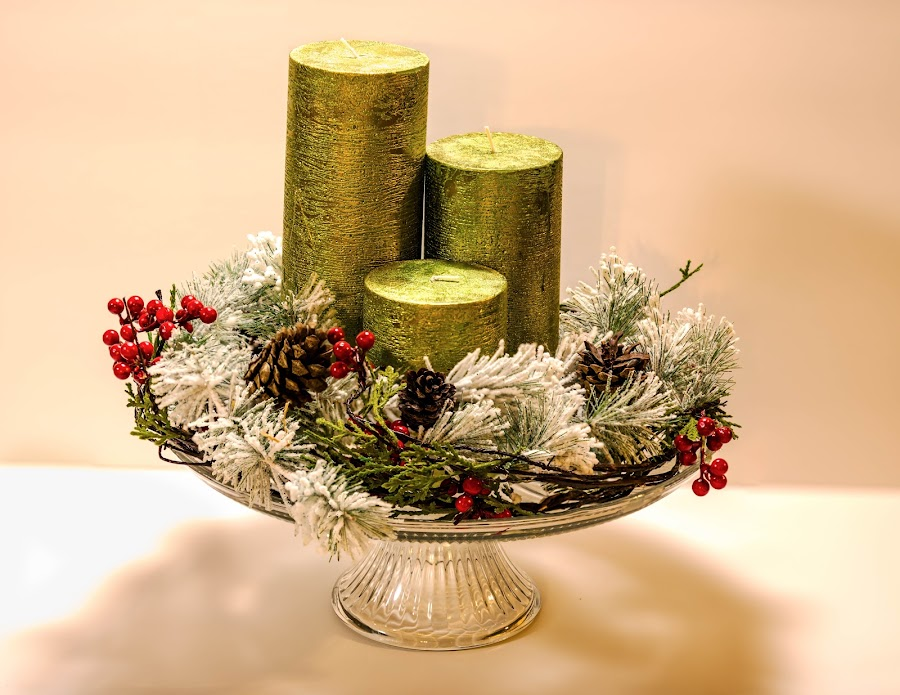 Christmas Candles by Chad Roberts - Public Holidays Christmas ( green, white, candles, evergreen, christmas, wreath,  )