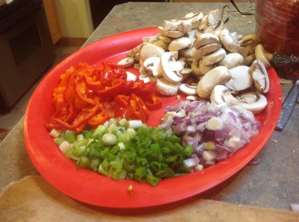 Chop veggies and add to large platter and set aside till needed.