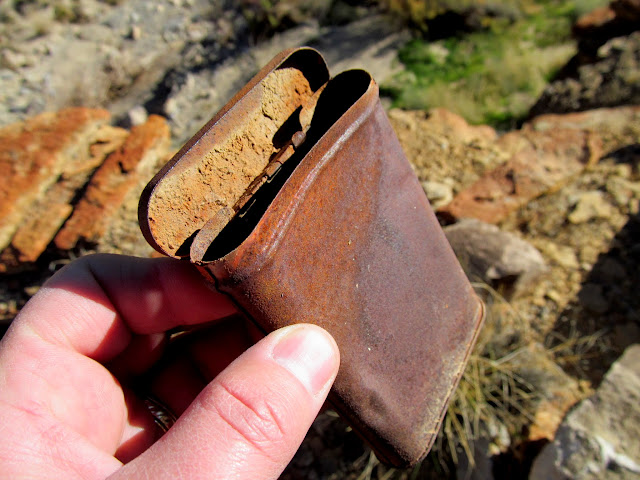 Tobacco tin that held a mining claim