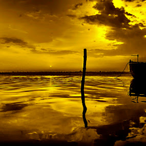Gold Tone by Arup Acharjee - Landscapes Waterscapes ( sky, nature, gold tone, monotone, river )