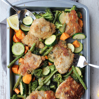 One Pan Parmesan Chicken and Roasted Vegetables Recipe