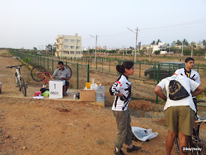 Photo: Registration desk and bikes being setup..
