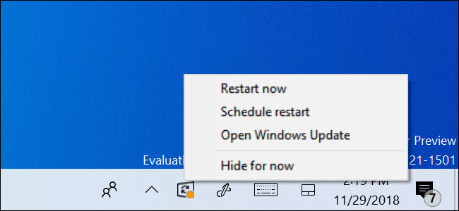 Hide for now option for Windows Update Status Icon