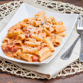 Rigatoni in Blush Sauce with Chicken and Bacon.