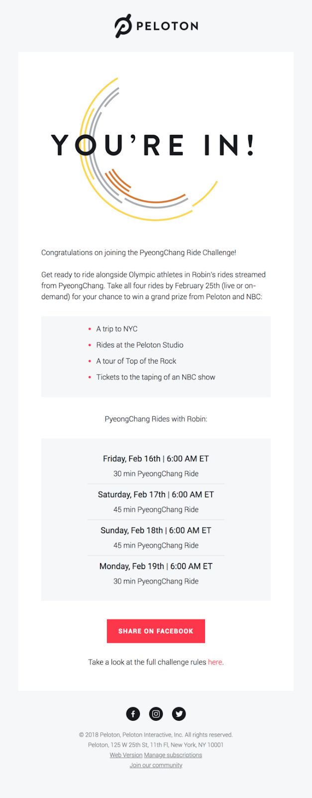 Peloton PyeongChang Ride Challenge email
