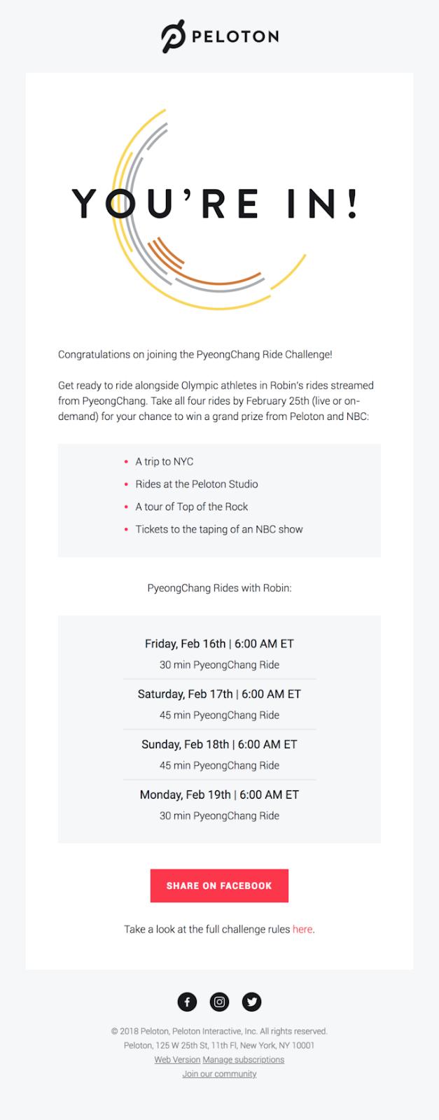 Peloton PyeongChang Ride Challenge email