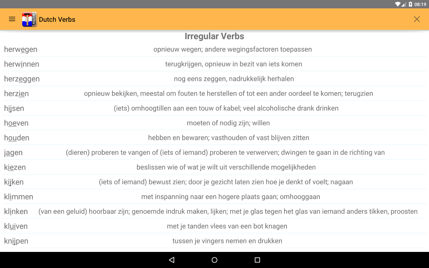 dutch verbs android apps on google play dutch verbs screenshot