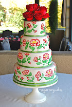 Photo: Red Garden Rose Brush Embroidery Wedding Cake by Sugar Song Cake (5/2/2012) View cake details here: http://cakesdecor.com/cakes/14295