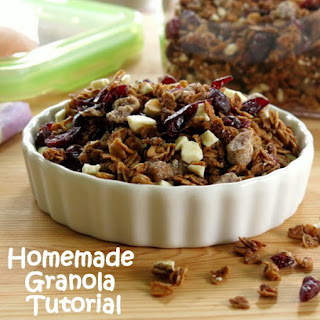 Homemade Granola with Dried Cherries, Dates and White Chocolate