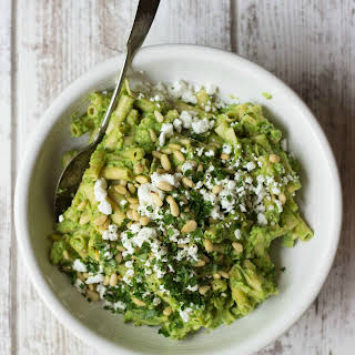 Broccoli Pesto Pasta Salad with Goat Cheese & Pine Nuts.