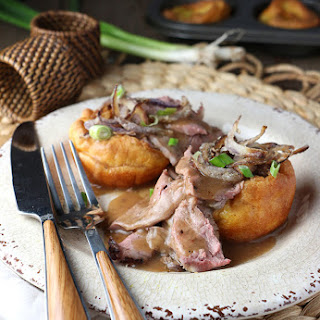 Roast Beef with Peppercorn Wine Sauce and Yorkies with Frizzled Onion Recipe