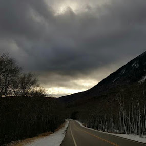 Snowy NH by Caleb Daniel - Landscapes Mountains & Hills ( clouds, winter, fog, snow, road,  )