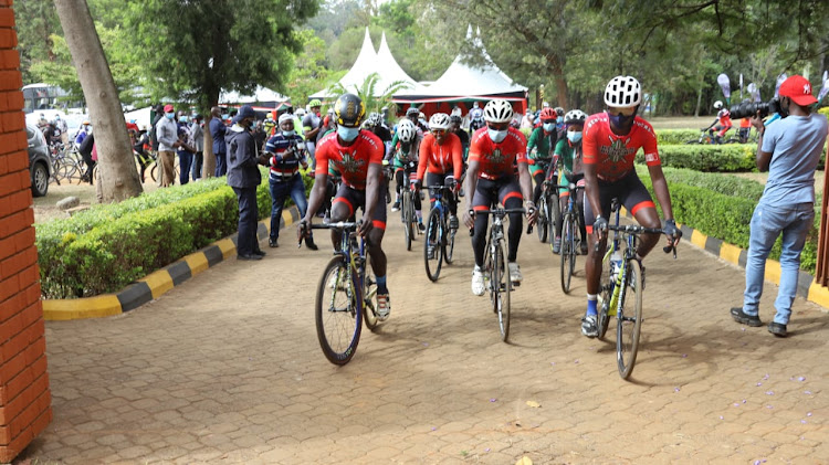 Professional cyclists take on the road in Eldoret