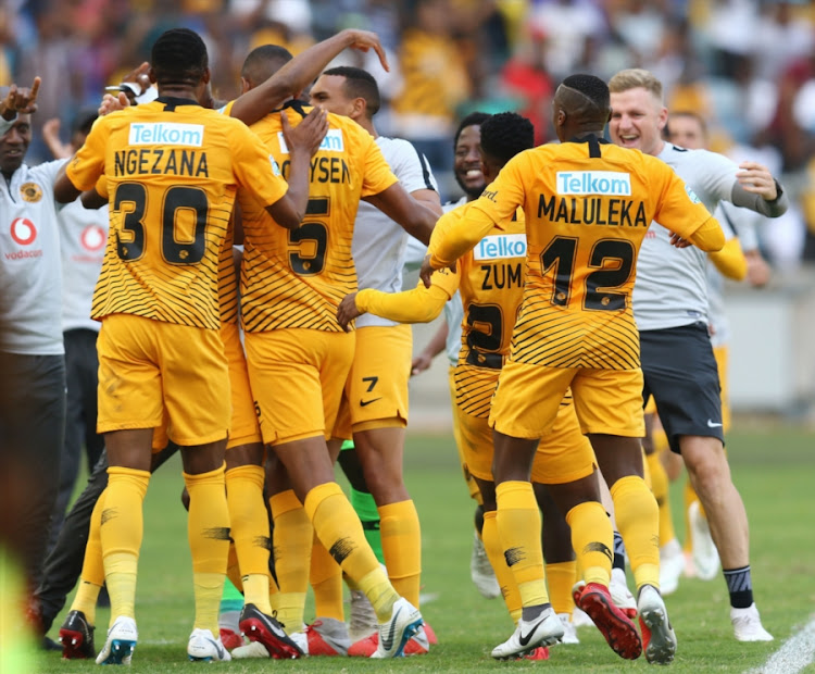 Kaizer Chiefs celebrate their goal during the Telkom Knockout quarter final match against SuperSport United at Moses Mabhida Stadium in Durban on November 04, 2018.