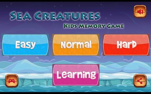 Kids Memory Game-Sea Creatures
