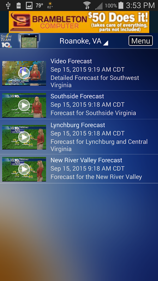 WSLS Weather- screenshot