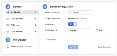 Manage devices connected to your Google Fiber network in your network settings.