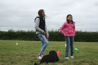 Photo: Natasha and Tamsin explaining what their trick is... Tilly doesn't seem to want to take part at this stage...